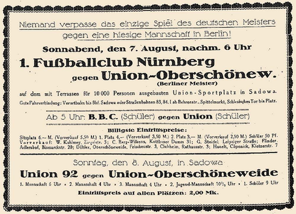 Plakat für das Eröffnungsspiel im Stadion an der Alten Försterei am 7. August 1920 gegen den Deutschen Meister aus Nürnberg